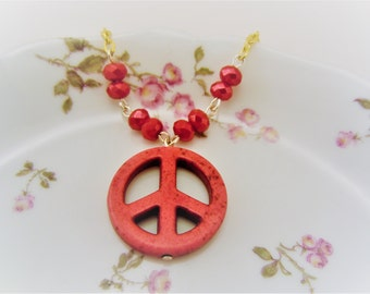 Peace sign necklace. Hot pink necklace. Gold peace sign necklace. Hippie jewelry. Flower child hippie. Hot pink jewelry. Gift for her.