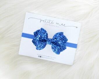 Royal Blue Glitter Bow // 3 sizes // clip or headband