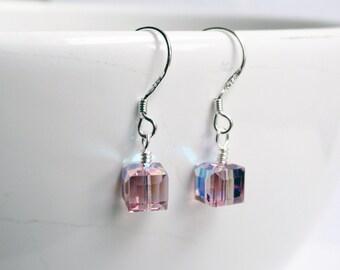 Swarovski earrings - sterling silver earrings - crystal cube earrings - pink earrings - amethyst earrings - pink amethyst