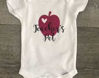 Teachers pet custom onesie