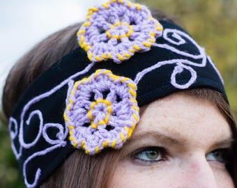 Fleece headband with purple-yellow flowers