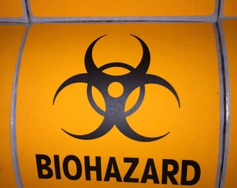 "Biohazard Sticker 12 Pack 4""X4"" Toxic Zombie Halloween Decorations"