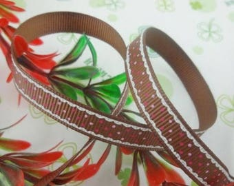 Brown Ribbon with polka dots (x 1 meter) polyester