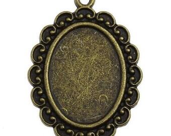 10 pcs Oval Antique Bronze Charms