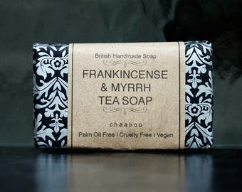 3 x Vegan Natural Soap FRANKINCENSE & MYRRH Tea Soap Palm oil free Handmade by chaaboo