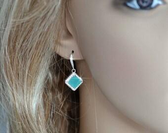 Handmade Mint CZ Princess Cut Halo Dangle Bridal Earrings, Bridal, Wedding (Sparkle-2437)