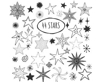 Doodle stars, vector clipart. Eps, png and svg files.