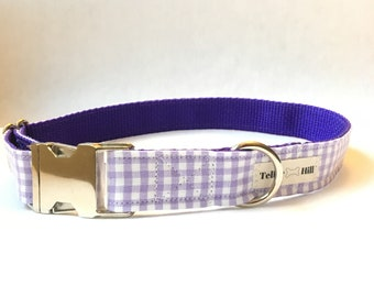 Purple Gingham Dog Collar -Purple Plaid Dog Collar -Gingham Dog Collar -Preppy Boy Dog Collar -Preppy Girl Dog Collar -Purple Checker Collar