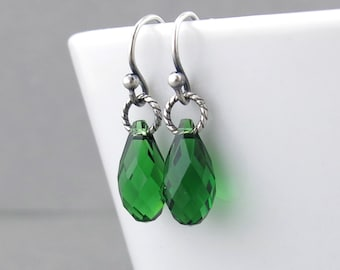 Emerald Earrings Tiny Crystal Earrings Wedding Jewelry Bridesmaid Gift for Her Under 30 Silver Drop Earrings Crystal Jewelry - Petite Drops