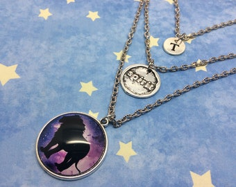 Lion Necklace, Layered Necklace, Charm Necklace, Spirit Animal Necklace, Multistrand necklace, Initial Jewellery, Universe, galaxy