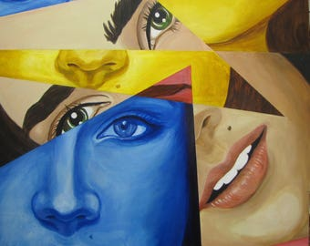 Color abstract portrait painting