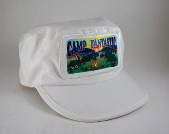 Camp Fantastic White  Snapback Hat // Embroidered Patch Camp Site