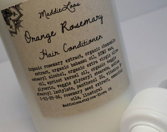 FREE SHIPPING-ORGANIC/Vegan-Orange Rosemary Herbal Hair Conditioner-vitamins, organic extracts, rosemary seed extract-8oz.