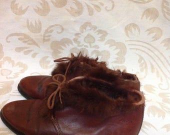 Brown Mink Fur Trim Ankle Boots US 6 EU 36 / 37 UK 4