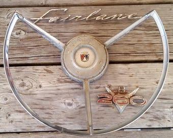 Ford Fairlane Vintage Steering Wheel and Fender Emblems - Circa 1960 - 260 V8 & Fairlane - Man Cave, Hot Rod Garage Decor, Props, Car Crafts