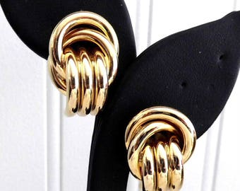 Earrings Gold Plated Tubes Love Knot Clusters Clips Mid Century 1980s Fashion Industrial Office