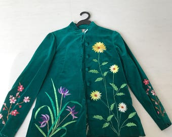 Gorgeous emerald floral embroidery applique jacket