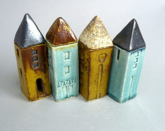Miniature House , Tiny Clay Home , Fairy Dwelling  , Tiny House Collecting ,  Architecture, Yellow House , Townhouse