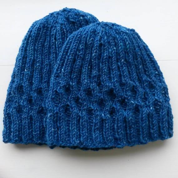 Knit wool beanie. Irish wool hat. Blue knit beanie. Men's knit beanie. Women's knit beanie. Made in Ireland. Original design. His & her hats