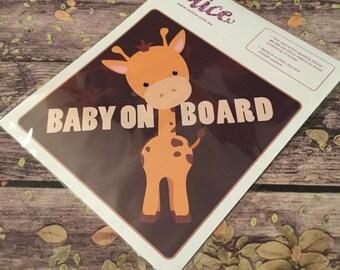 BABY on board - GIRAFFE boy Car Sticker. Baby on board, car sticker.