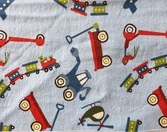 1/2 yard Blue Scoot Fabric, Wagon Fabric, Tractor Fabric, Train Fabric, Riley Blake Scoot, Quilting Cotton Children, Boy Print