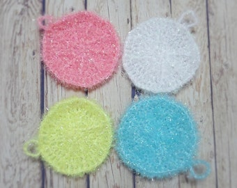 Set of  4, Homemade Circle Crochet Dish Cloth, Scrubbies, Scrubber, Scrubby
