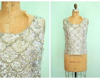 Vintage 1950's Silver Sequin Blouse | Size Medium