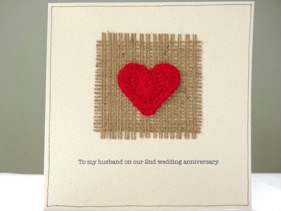 Anniversary card kits ~ 2nd wedding anniversary card romantic hessian and red heart