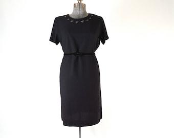 """1960s - Voluptuous Black Rayon Crepe Dress - Bodice Cutout Detail - True Vintage - 40"""" Waist"""