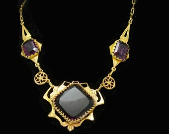 Victorian Amethyst necklace Bohemian Necklace  glass Vintage necklace russian gold plate purple facets beautiful antique necklace