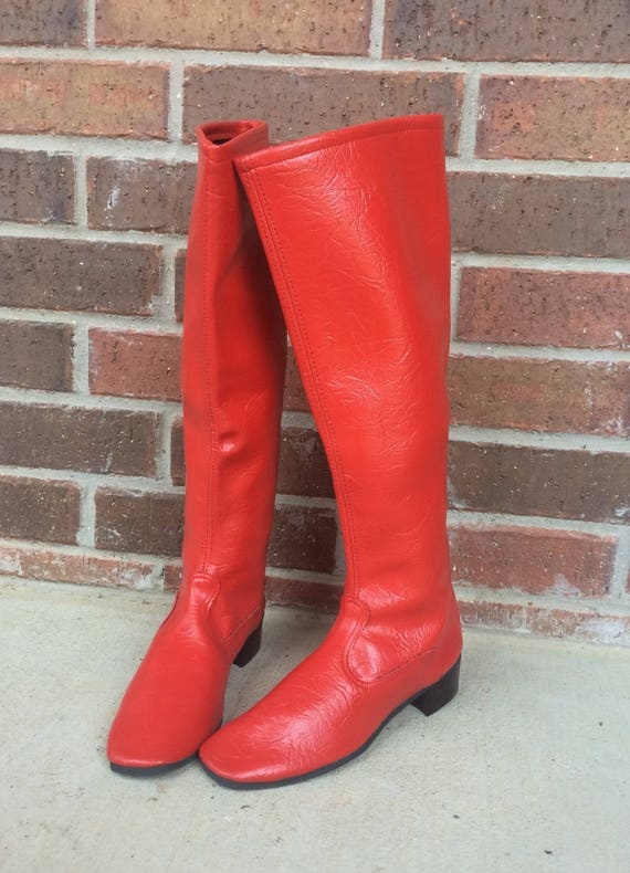 5 retro Age Space BOOTS RED high knee Rare CHERRY vtg dolly 60s GoGo mod tall 5 BqwFnZz