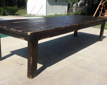 Walnut kitchen table etsy rustic 12 foot dark walnut stained distressed primitive farmhouse country cabin kitchen table custom workwithnaturefo