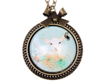 Goat Necklace, Baby goat Necklace, cute necklace 2525C