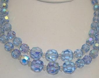 Vintage Double-Strand Blue Aurora Borealis Crystal Glass Bead Necklace