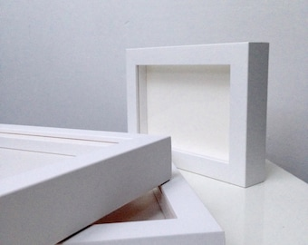 A4 White or Black Box Frame - Matt Spray Finish - Non-Breaking Gallery Acrylic - Picture / Photo Gallery Frame