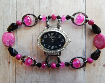 Hot pink and Black Crystals Interchangeable stretch band w Hot Pink Crystals & CrazyLaceAgate ovals w Slvr and Black Watchface w Rhinestones