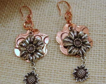 Etched Copper and Silver Mixed Metal Earrings