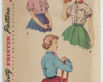 1950's Simplicity 4869 Girl's Shirt Mother and Daughter Fashion Blouse with Round Collar Center Back Pleat Breast 24