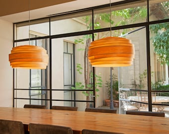 "Free shipping, Pendant light, Pendant lamp, hanging lamp, hanging light, ceiling lamp, ceiling light, Maple veneer lampshade ,""Light Cloud"""