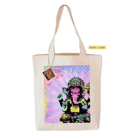 Ganehsa Tote Bag, Reusable Shopper Bag, Farmers Market Bag, Cotton Tote, Shopping Bag, Eco Tote Bag, Reusable Grocery Bag, Printed in USA