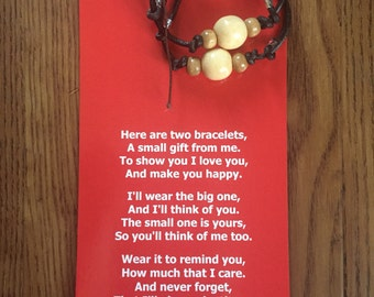 Son gift-stepson gift-stocking stuffer-separation anxiety-big brother gift-mother son-new baby gift-children's bracelet-mommy and me