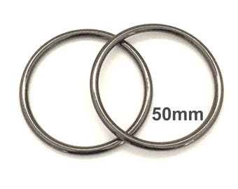 Extra Large GUNMETAL o-rings 50mm ID / Extra Large o Rings / Jumbo Gunmetal O Ring / Strap Hardware / O rings / Set of Two O Rings