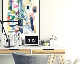 What R you doing this weekend? - Abstract Watercolor Art Print - Large piece - Give Art - Contemporary - Brush strokes