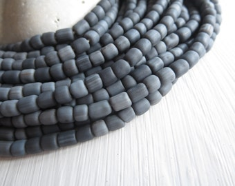 small opaque Grey glass Beads, matte grey seed beads, spacer tube barrel , New Indo-pacific 3 to 6mm  -  22 inches strand, 6a14-12