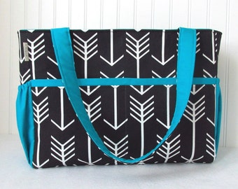 XL Diaper Bag in Black Arrows and Turquoise for Boy or Girl 12 Pockets Zipper Closure