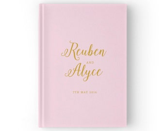 Blush Guest Book, Gold Guest Book, Blush and Gold Wedding Guest Book, Color Choices Available, GB069