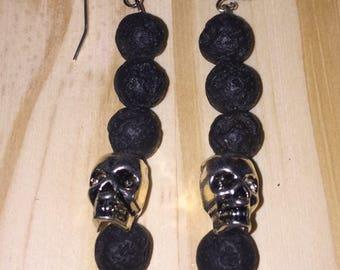 Volcano & skull dangle earrings