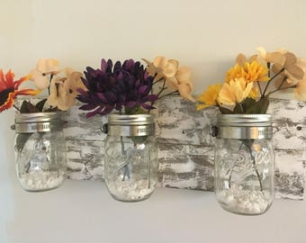 Handmade reclaimed painted pallet wood hangable mason jar organizer bathroom storage home decor flowers