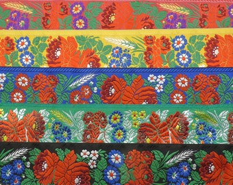 70mm wide Ribbon.  Czech Traditional Floral Design.  Eastern European Folk Ribbon.