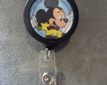 Vintage Mickey Mouse Badge Reel with Retractable Cord